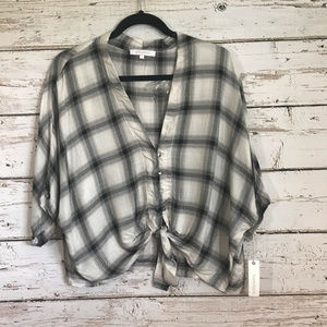 Olivaceous Plaid NWT tie front Top